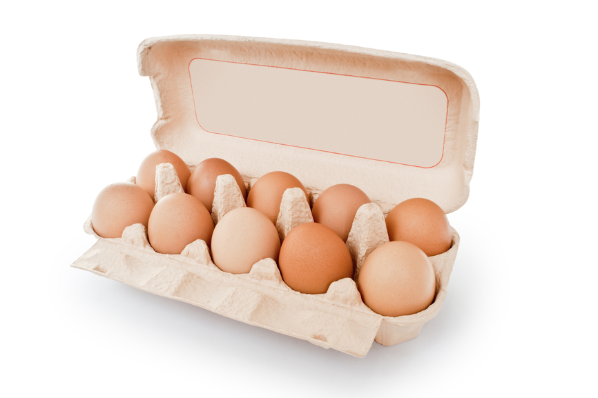 carton box with eggs isolated on the white background